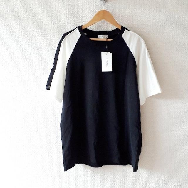 〇EVRIS〇新品 BACK EAGLE バイカラーTシャツ