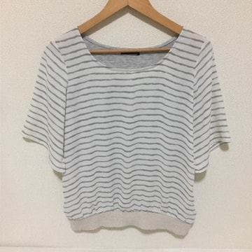 #COMME CA ISMボーダー異素材カットソー M