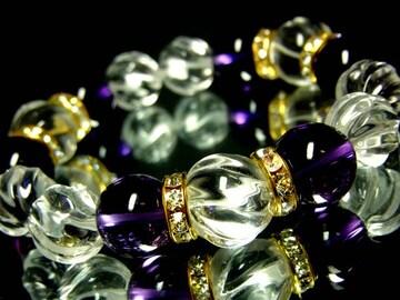 トルネードスクリュー水晶14ミリ12ミリ§アメジスト12ミリ§金ロンデル