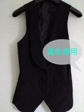 細ストライプ黒ベスト◆ゴスロリ/V系◆2日迄の価格即決