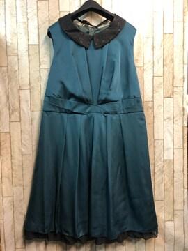 新品☆21号3L大きいサイズ付け衿つきパーティワンピース緑s911