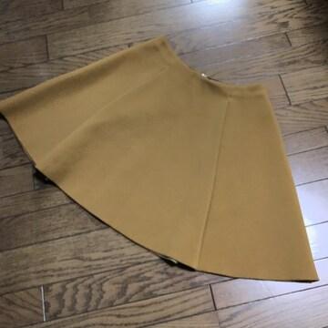 イエナボンディングリバー素材キャメルカラー膝丈フレアスカート