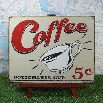 新品【ブリキ看板】Coffee/コーヒー Bottomless Cup 5¢