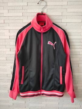 美品即決/PUMA/ジップアップジャージジャケット/ラメピンク/160