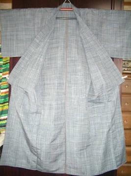 細かい格子紋様 単の紬のお着物