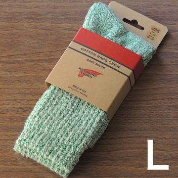 レッドウィング米国製コットンラグクルーソックス グリーンL靴下
