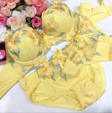 男性様歓迎☆ D75M 刺繍黄色 ブラ&パンティ&Tバック 女装