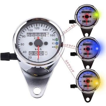 ミニ スピードメーター バイク LED バックライト