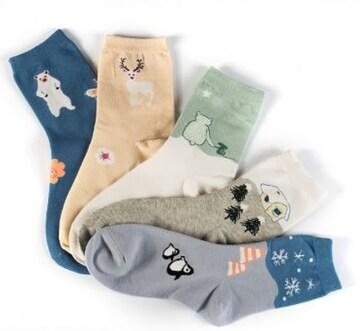 5足ソックス 女性靴下 22~24cm通気性 防臭 綿素材 動物