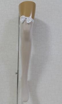 新品[7886]白リボン★薄型ニーハイストッキング/ロリータ