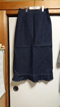 新品 未使用品 デニム 裾フレア— ロングスカート M