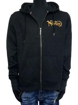 新品Nortonフードロゴ膨れJQジップパーカー黒 L ロゴ刺繍