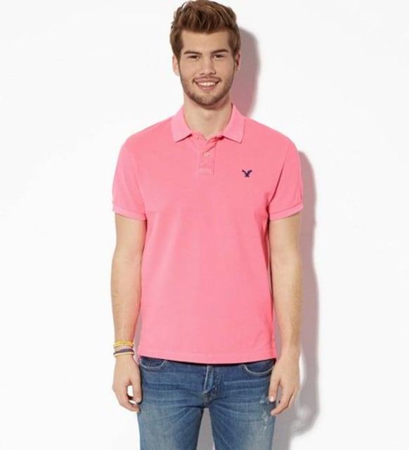 【American Eagle】AEOビンテージフィットピケポロシャツ M/Pink  < ブランドの