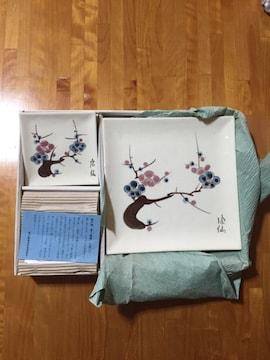 265.新品☆和風梅柄角皿5枚セット☆瀬戸焼