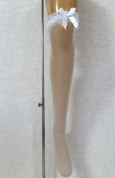 新品[7787]白☆レースリボン付きのニーハイストッキング