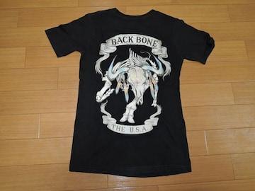 バックボーンBACKBONEカットソーS黒Tシャツ干支ボーン背ロゴ