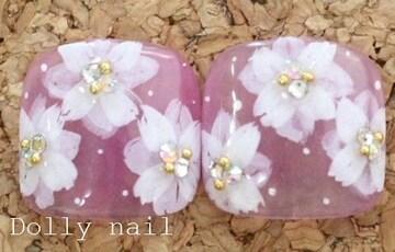 みぢょ!ペディチップ親指用2枚シアーフラワー春夏パープル紫スワロジェル