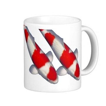 紅白の錦鯉のマグカップ