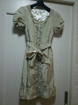 ロディースポットMゴールドベージュサテンワンピースドレス