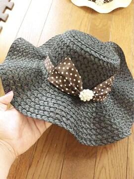 黒に茶色白ドットパールデカリボンフレア麦わら女優帽子 お揃い