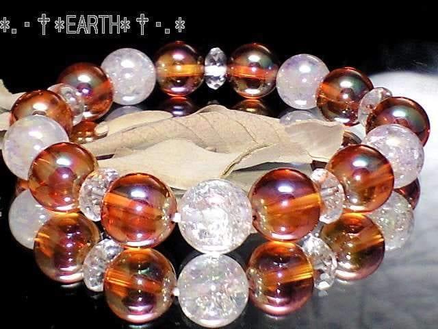 天然石★オレンジフラッシュ水晶AAA&アクアオーラクラック数珠  < 女性アクセサリー/時計の