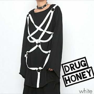 Drughoney【ユニセックス】バイカラー配色デザインハーネス装飾