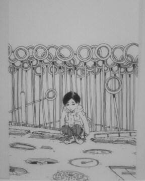 オリジナルイラスト手描きイラスト○○○自作ハンドメイド絵白黒原画モノクロアートインテリア