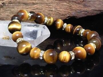 タイガーアイ10ミリ§8ミリ§銀ロンデル数珠