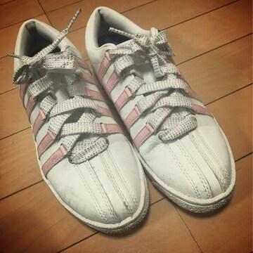 K・swiss◆クラシックスニーカー◆23.0◆ホワイト/ピンク