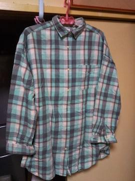 ユニクロ オシャレ シャツ ブラウス チェック柄 サイズL 大きめ ブルー系色