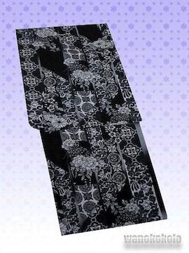 【和の志】夏の洗える着物◇紗Mサイズ◇黒系・更紗文様◇105