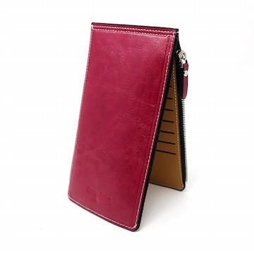 薄型 二つ折り 長財布 カードケース ローズレッド //b32