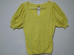 新品ビバユー\12000パフスリーブ半袖綿ニット黄美人百花アプワイザーリランド