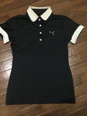 プーマゴルフドライ素材きちんと感のあるポロシャツ黒×白黒水玉