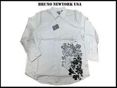 新 【白色-2XLB】 Bruno Newyork シャツ 人気ビッグサイズ