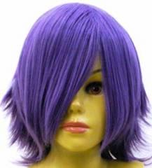 即納可能★即決★ フルウィッグ ショートはね 紫/パープル L5