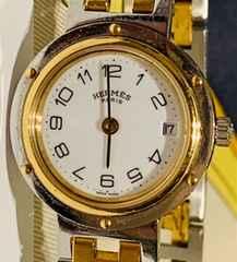 良品エルメスクリッパーレディース時計ゴールドコンビブレス白