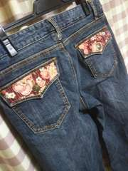 ★Oriri Jeans 和柄 花柄 激渋 デニム 膝下 パンツ ショート ジーンズ●