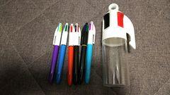 0.8  4色ボールペン6本 リアルペンケースにいれて