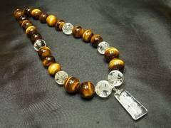浮彫龍水晶プレート×皇帝龍本水晶×タイガーアイネックレス 開運数珠