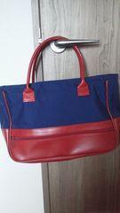 手提げバッグ 紺と赤のツートン