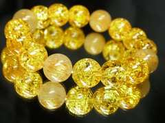金針水晶タイチンルチル×黄水晶シトリンクラックブレスレット 12ミリ数珠