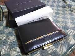 バーバリー 本革製二折財布 ブラック・新品