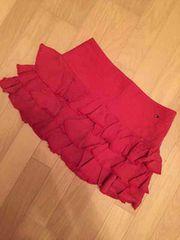 トミーガール 3段ミニスカート 赤 コットン100%