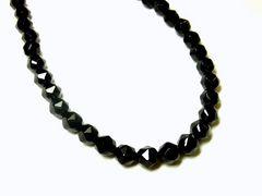 長さも選べる!!ブラックスピネルスターカット8ミリ数珠ネックレス!!黒光り最高