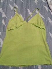 グリーンイエロー黄緑色綿キャミ後ろ調節リボンショルダーS〜M