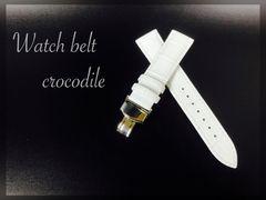時計ベルト Dバックル カーフ革 クロコダイル型押し20mm 白色