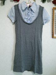 ★シャツ一体型ワンピ♪ストーンボタン☆ブルー×グレー