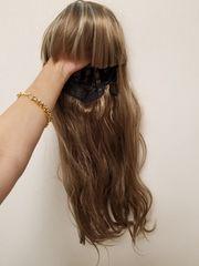 新品◆アッシュチョコ×ホワイトメッシュ前髪あり毛先ゆるカールスーパーロングウィッグ