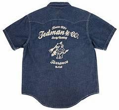 テッドマン/刺繍/半袖ウエスタンシャツ/ネイビー/tshb-1400ws/エフ商会/カミナリモータース